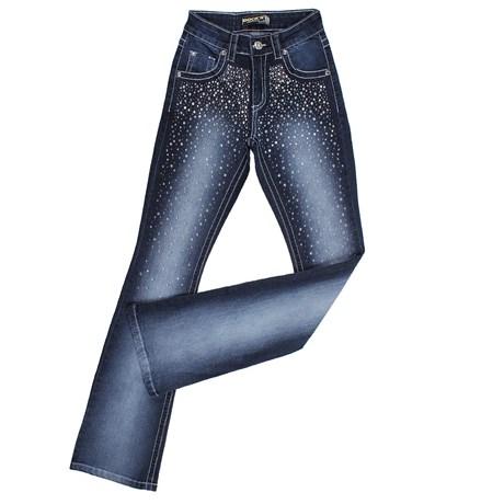 Calça Jeans Feminina Flare com Apliques Dock's 24271