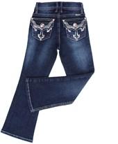 Calça Jeans Feminina Infantil Boot Cut com Bordados e Pedras - Tassa 19184