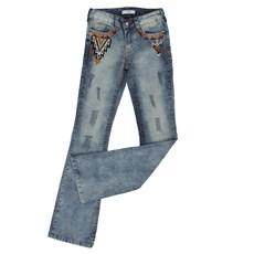 Calça Jeans Feminina Manchada Tassa Gold Boot Cut 23968