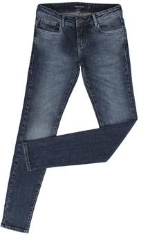 Calça Jeans Feminina Skinny Azul Escuro Bordado Tachas - Tassa Gold 19183