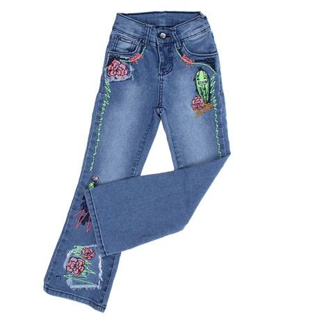 Calça Jeans Infantil Feminina Boot Cut Azul Clara Tassa Gold 28152