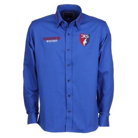 Camisa Azul Bordada Manga Longa Masculina Dock's 25686