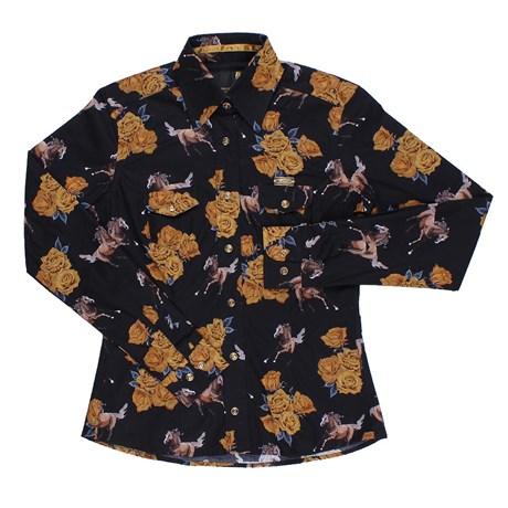 Camisa Buphallos Estampa Rosas e Cavalos Feminina 24391