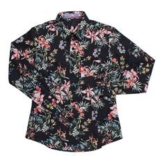 Camisa Feminina Floral Manga Longa Preta Rodeo Western 24617