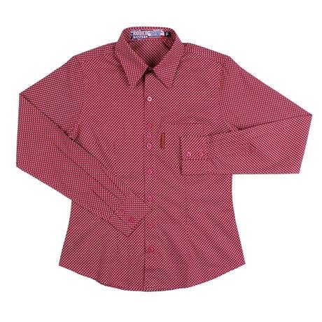 Camisa Feminina Manga Longa Rosa Estampada Rodeo Western 26348
