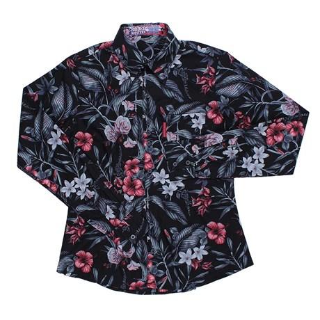 Camisa Floral Feminina Manga Longa Rodeo Western Preta 24618