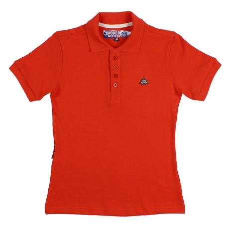 Camisa Gola Polo Feminina Vermelha Rodeo Western 26344