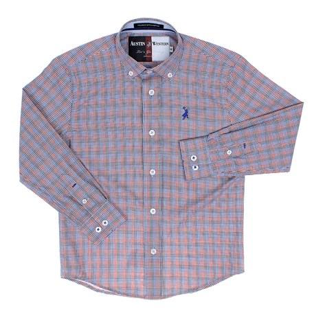 Camisa Infantil Masculina Manga Longa Xadrez Azul Austin Western 29798