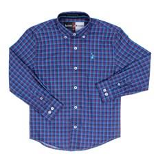 Camisa Infantil Masculina Manga Longa Xadrez Azul Austin Western 29799