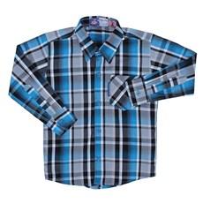 Camisa Infantil Masculina Manga Longa Xadrez Azul Rodeo Western 22600 ... de81a00186e