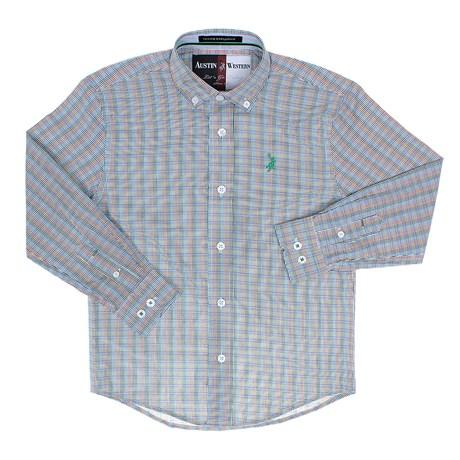 Camisa Infantil Masculina Manga Longa Xadrez Verde Austin Western 29800