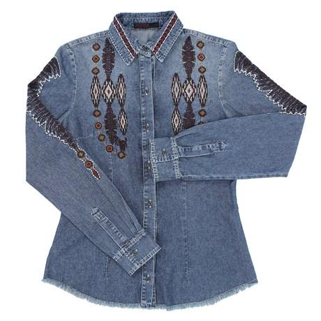 Camisa Jeans Feminina Tassa Gold Bordada 22673