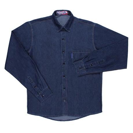 Camisa Jeans Masculina Rodeo Western Manga Longa Azul 24697