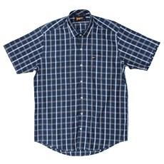 Camisa Manga Curta Fast Back Xadrez Azul Masculina 23134