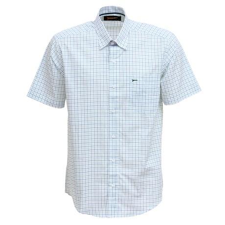 Camisa Manga Curta Masculina Branca Xadrez Fast Back 29454