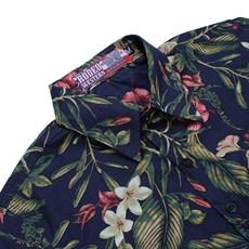 Camisa Manga Longa Feminina Floral Rodeo Western Azul Marinho 24619