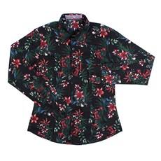 Camisa Manga Longa Feminina Preta Estampa Floral Rodeo Western 26349