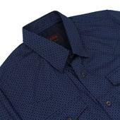Camisa Masculina Azul Marinho Estampada Manga Longa - Tassa 19367