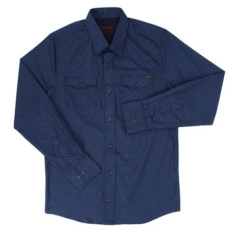 40b367609c Camisa Masculina Azul Marinho Estampada Manga Longa - Tassa 19367 ...