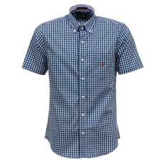 Camisa Masculina Azul Xadrez Manga Curta Austin Western 29205