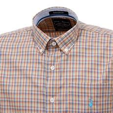 Camisa Masculina Laranja Xadrez Manga Curta Austin Western 29202