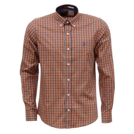 Camisa Masculina Laranja Xadrez Manga Longa Austin Western 29201