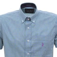 Camisa Masculina Manga Curta Xadrez Azul Austin Western 30071