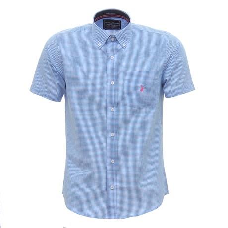 Camisa Masculina Manga Curta Xadrez Azul Austin Western 30074