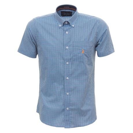 Camisa Masculina Manga Curta Xadrez Azul Austin Western 30075
