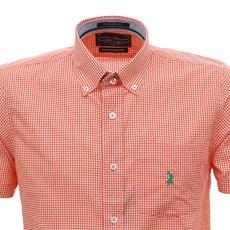 Camisa Masculina Manga Curta Xadrez Laranja Austin Western 30078