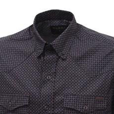 Camisa Masculina Manga Longa Tassa Preta Estampada 26792