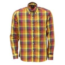 Camisa Masculina Manga Longa Xadrez Amarela Tuff 27469