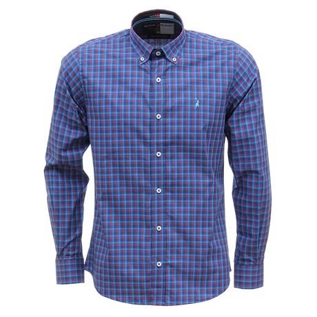 Camisa Masculina Manga Longa Xadrez Azul Austin Western 29804