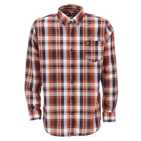 Camisa Masculina Manga Longa Xadrez Laranja Tuff 27466