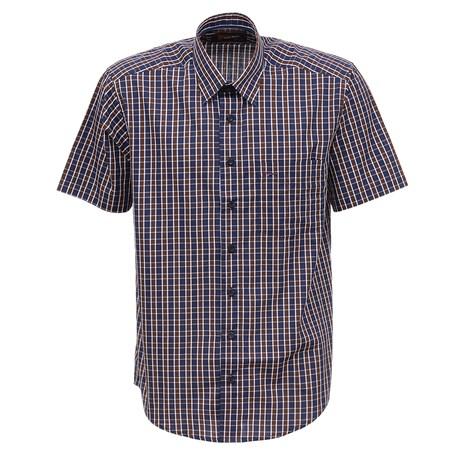 Camisa Masculina Quadriculada Marrom Manga Curta Fast Back 27710