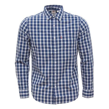 Camisa Masculina Xadrez Manga Longa Azul Levi's 30004