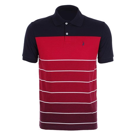 Camisa Polo Masculina Vermelha Listrada Austin Western 24762