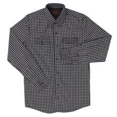 Camisa Preta Estampada Masculina Manga Longa Tassa 21393