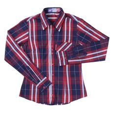 Camisa Xadrez Feminina Azul Rodeo Western Manga Longa 23344