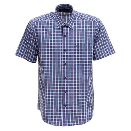 Camisa Xadrez Manga Curta Masculina Azul Fast Back 29474