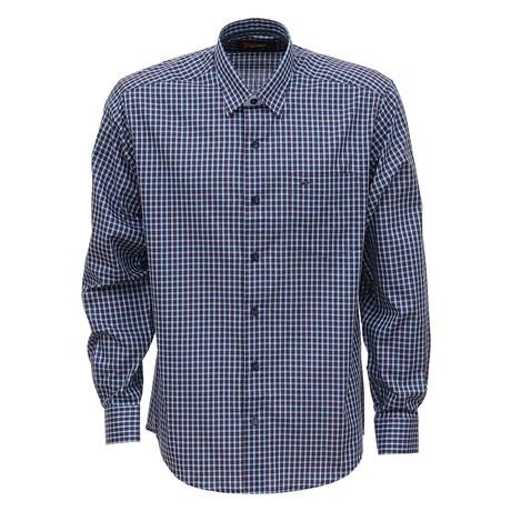 Camisa Xadrez Manga Longa Masculina Azul Fast Back 29450