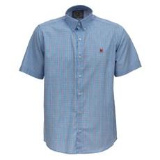 Camisa Xadrez Masculina Azul Manga Curta TXC 26084
