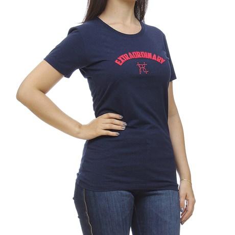 Camiseta Azul Marinho Feminina Gola Redonda TXC 30180