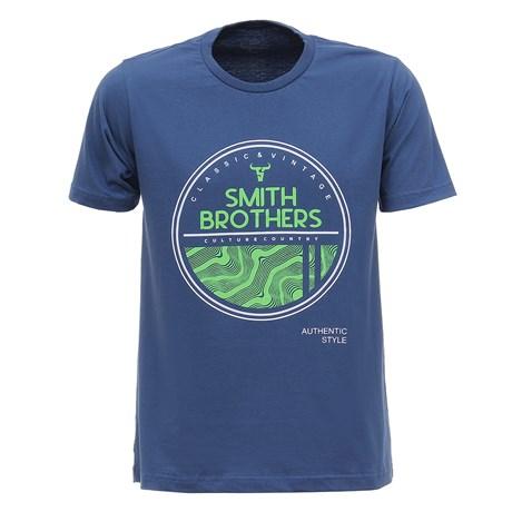 Camiseta Azul Masculina Estampada Smith Brothers 28175