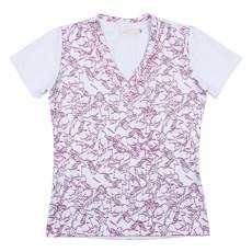 Camiseta Baby Look Feminina Branca Estampada Cavalos Dock's 24830