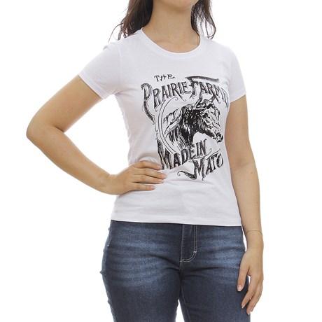 Camiseta Baby Look Feminina Branca Estampada Made In Mato 29963