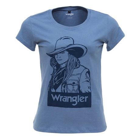Camiseta Baby Look Wrangler Azul Feminina Original 26862