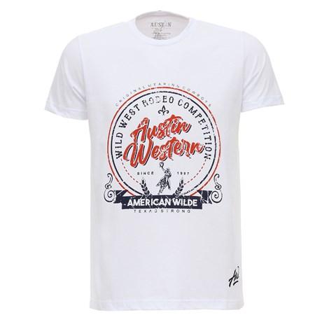 Camiseta Branca Masculina Estampada Austin Western 28016