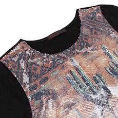 Camiseta de Paetê Feminina Preta Tassa Gold 21403