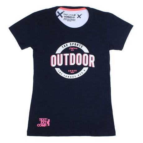 Camiseta Feminina Azul Marinho Estampada TXC 26091
